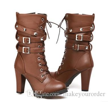 the new comfortable side zipper rivets high heels central boots large size Martin boots women's shoes 320