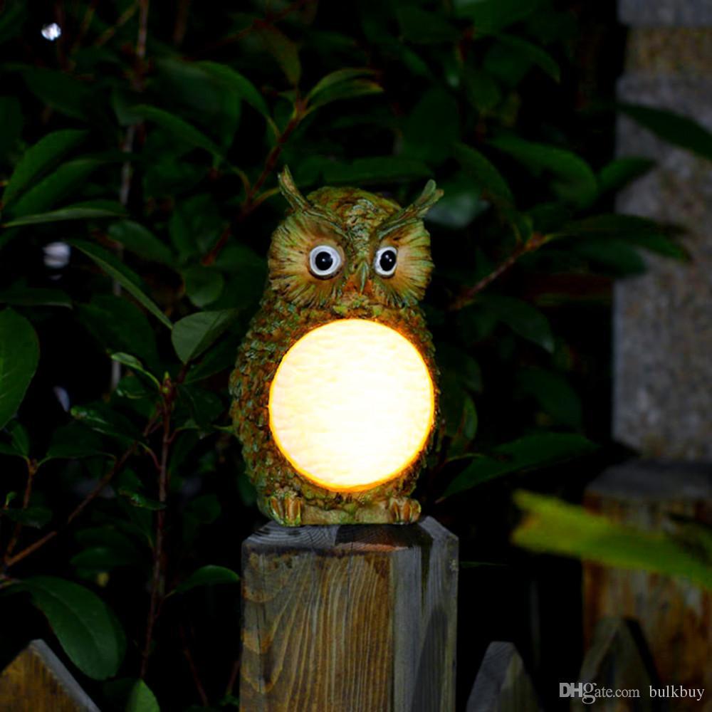 Solar owl led light garden home yard decor outdoor light - Lamparas solares de led ...