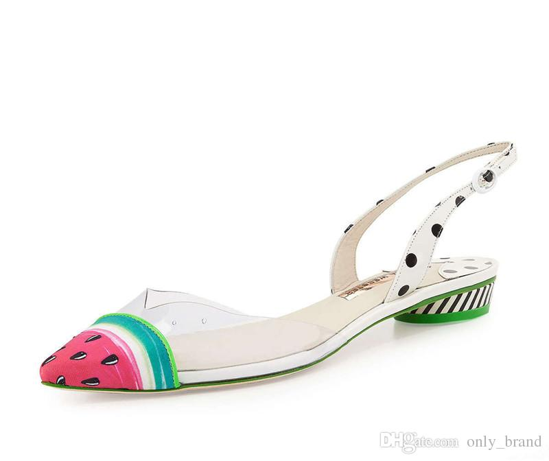 2017 Summer New Westerm Style Pointed Toes Shallow Mouth Flat Shoes Watermelon Pattern Fashion Female Sandals