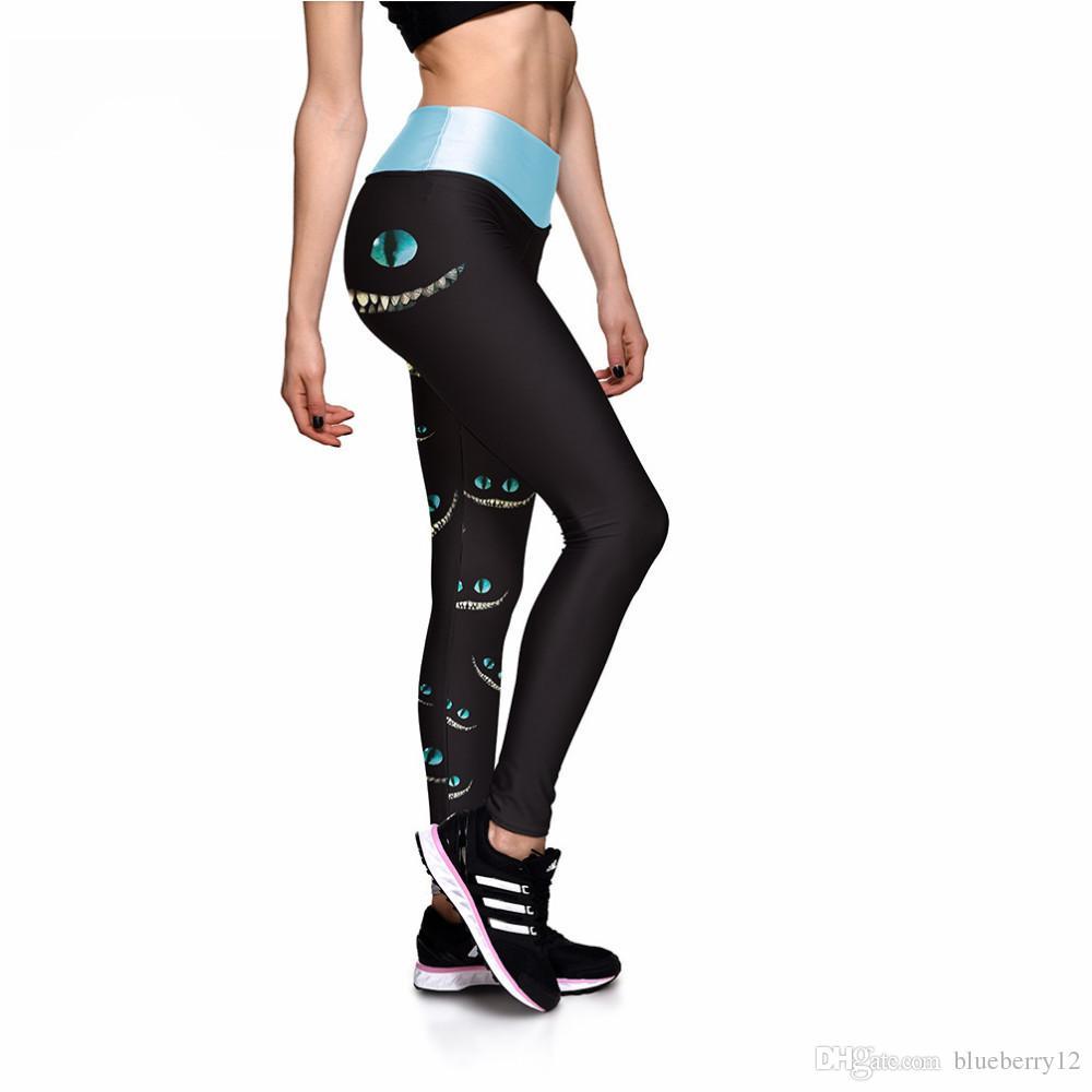 Leggings preto Sexy New Leggings Olhos Verdes Rosto 3D Impressão Mulheres Calças de cintura alta Calças Ropa Mujer