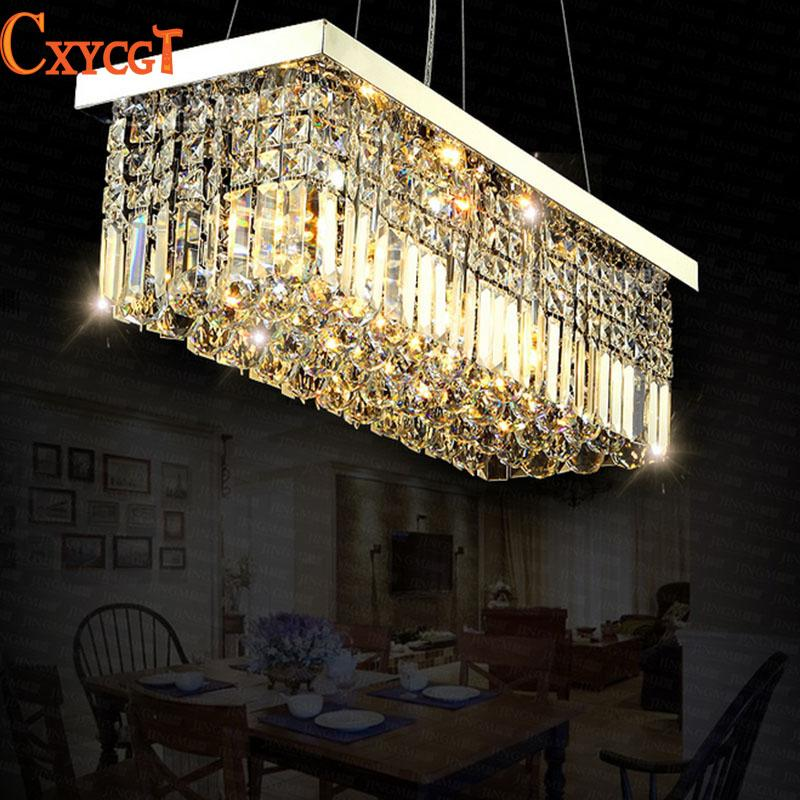 Led modern rectangular crystal chandelier light fixture pendant led modern rectangular crystal chandelier light fixture pendant hanging lamp for parlor dining room restaurant decoration drum light pendant discount mozeypictures Choice Image
