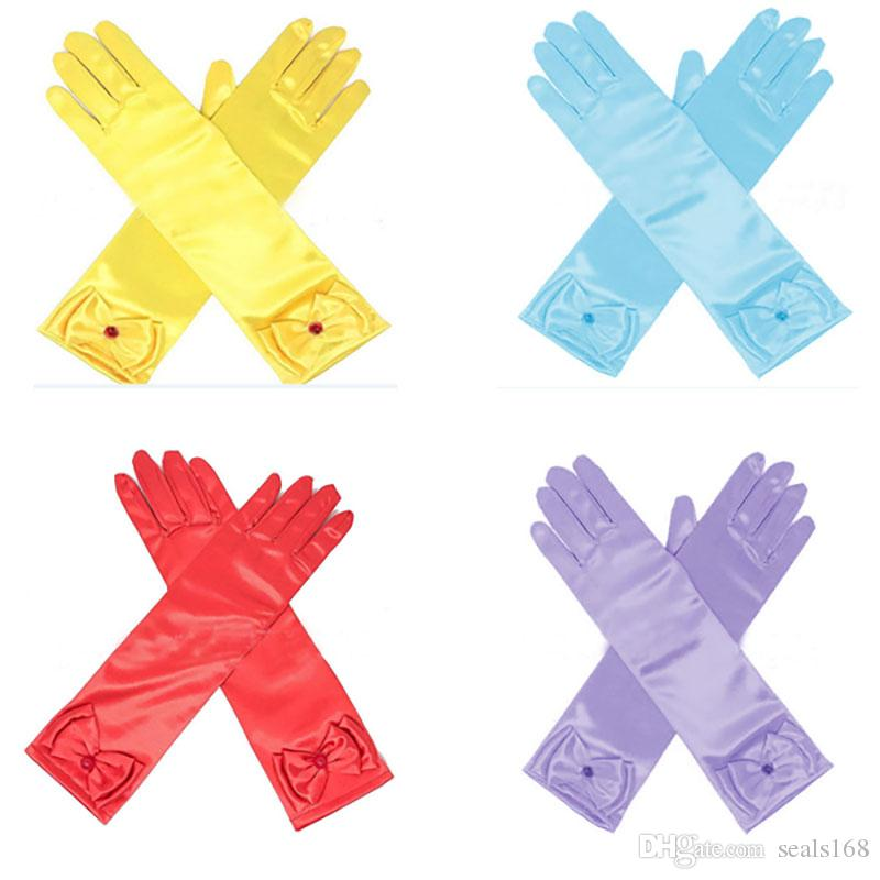 Gloves & Mittens 1 Pair Kids Girls Bow Gloves Infant Baby Mittens Wedding Child Elbow Short Party Gloves 4 Colors Mother & Kids