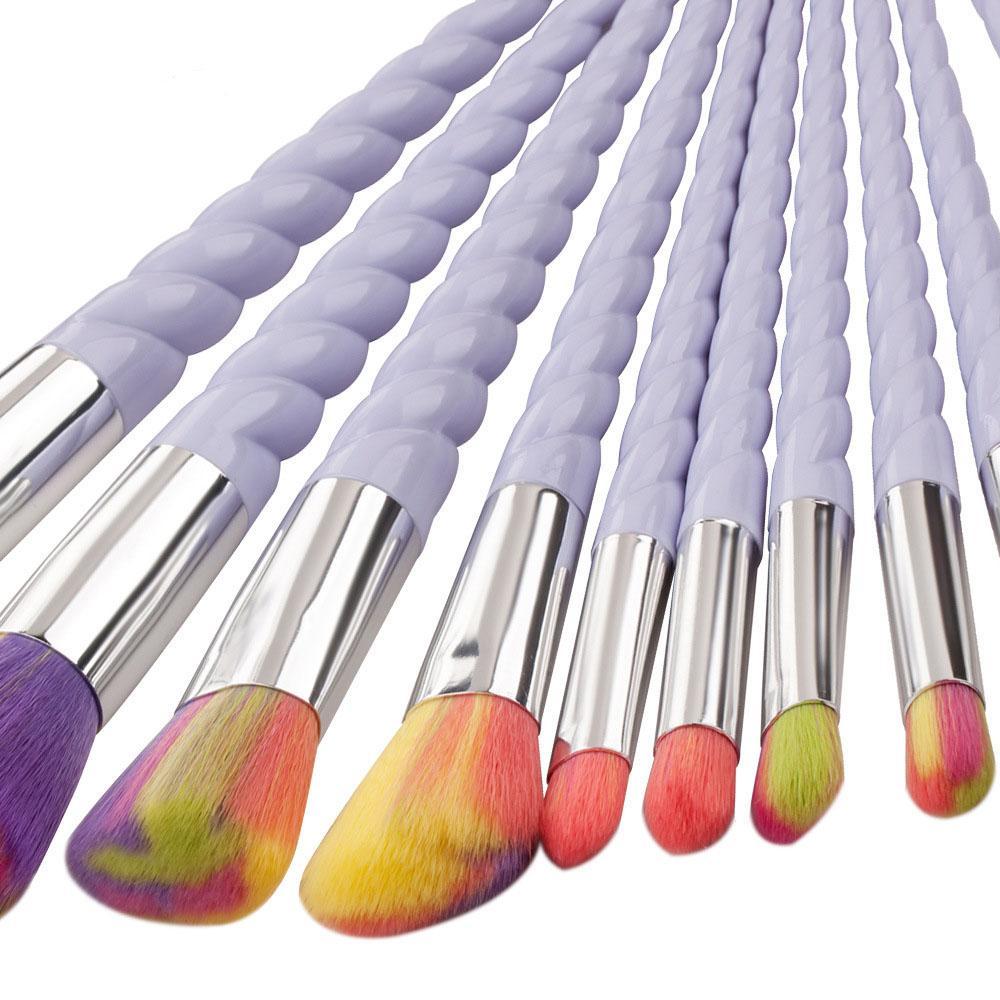 Rainbrow Makeup Brushes Set Spiral Shell Colorful Brushes Professional Powder Tool Thread Cosmetic Brush Kit UPS ship