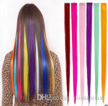 Fashion hair for women Long Synthetic Clip In Straight Hairpiece Party Highlights Punk hair pieces