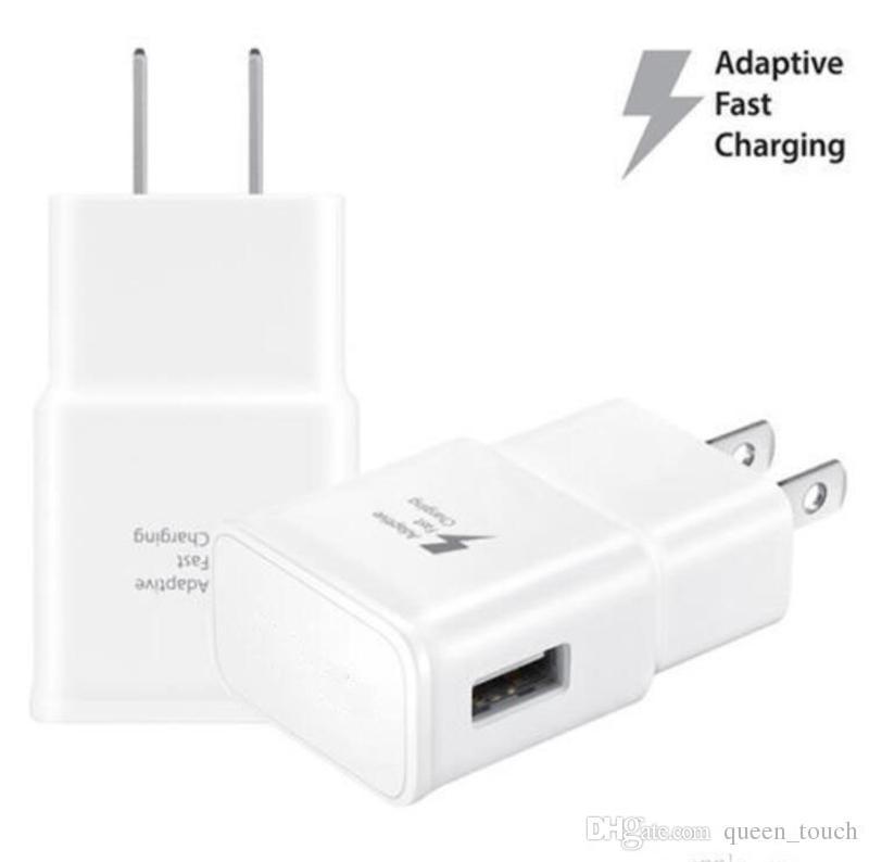 Hızlı chargeing Duvar Yüksek hızlı seyahat Duvar Şarj ABD Tak 5V / 2A 9V / 1.67A Ev Adaptör İçin Samsung Galaxy S6 S7 S8 Şarj