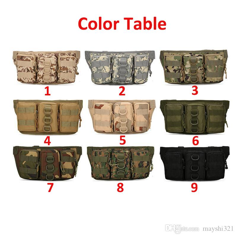 Outdoor Molle Gear Waterproof Camouflage Cycling Camping Hiking Mans Waist Bag Sport Pack Message Bag Tactical Military Pouch Bag