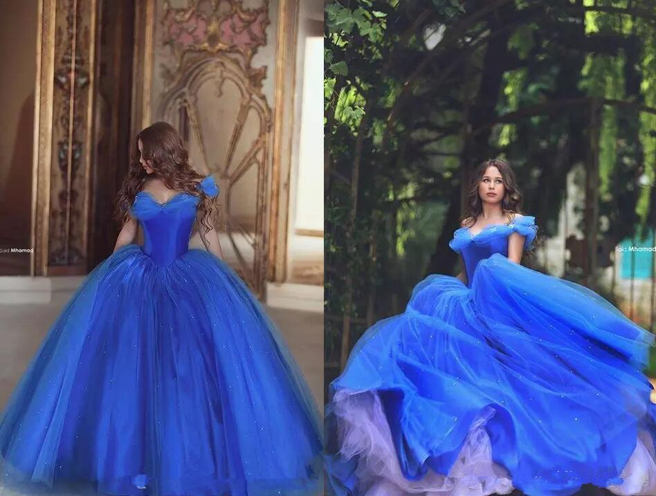2017 Off Shoulder Pleats Ice Blue Puffy Princess Dresses Cinderella ...