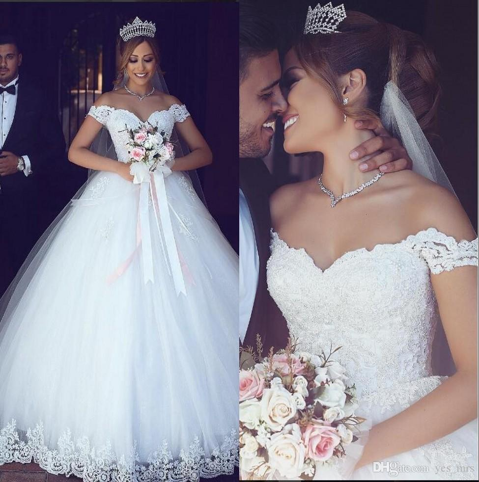 2018 New Modest Cheap Arabic Ball Gown Wedding Dresses Plus Size Lace  Applique Off Shoulder Puffy Tulle Sweep Train Formal Bridal Gowns Corset Dresses  Dress ... 104b85bbab0d