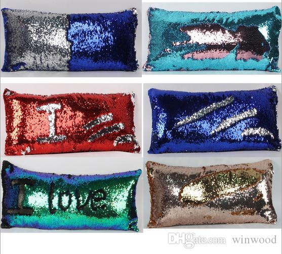 Rectangle Decor Pillow Case Magic Sequins Pillowcase Cushion Cover Bedding Supplies Double Color Paillette Mermaid Pillow Sofa Car