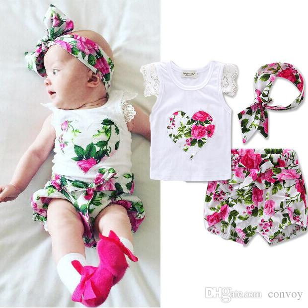 Ins Hot Newborn Baby T-Shirt Short Headbands Set Baby Girl Pant Headbands Flower Rompers Jumpsuits Infant Toddler Bodysuits 70-110cm KST02