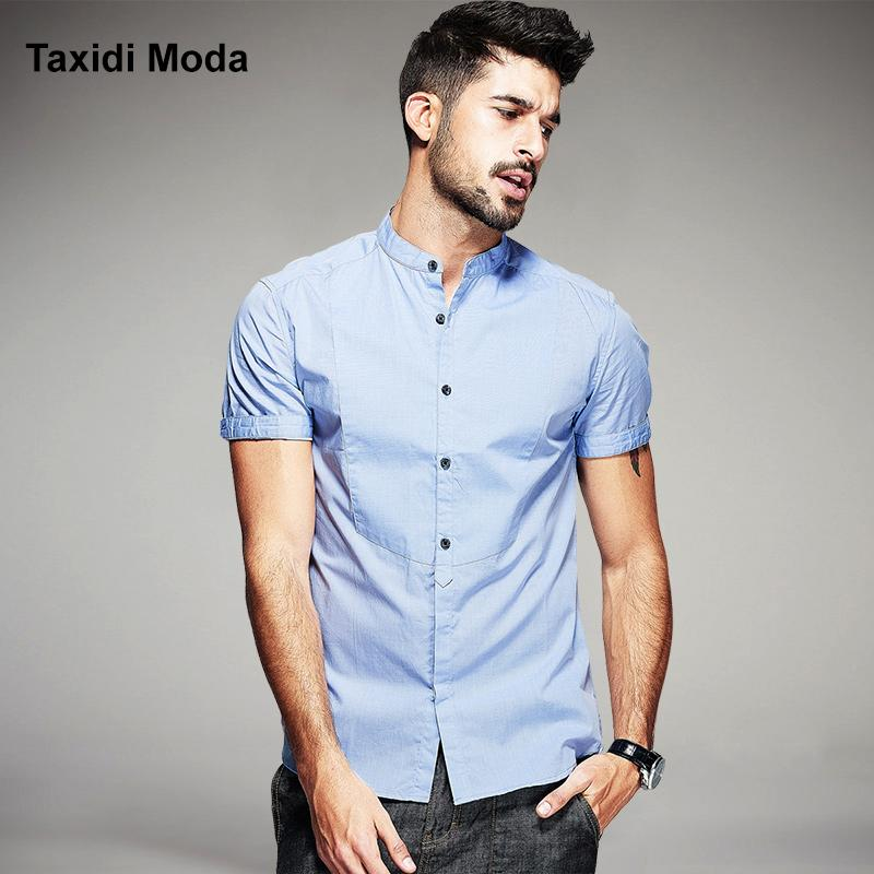 86d9ca522d53 2019 Wholesale New 2016 Summer Fashion Mens Dress Shirts 100% Cotton Brand  Clothing Black Gray Man S Wear Slim Short Sleeve Male Clothes From Peay