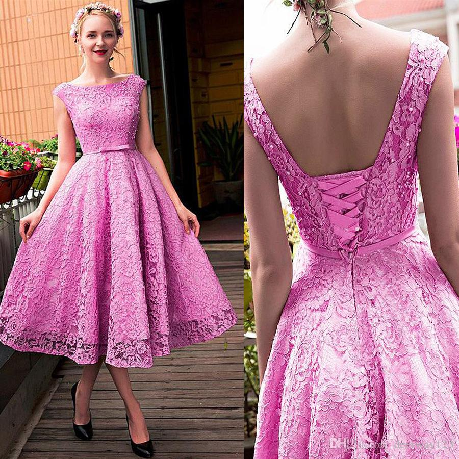 Compre Exquisito Lace Bateau Escote A Line Homecoming Vestidos Con ...