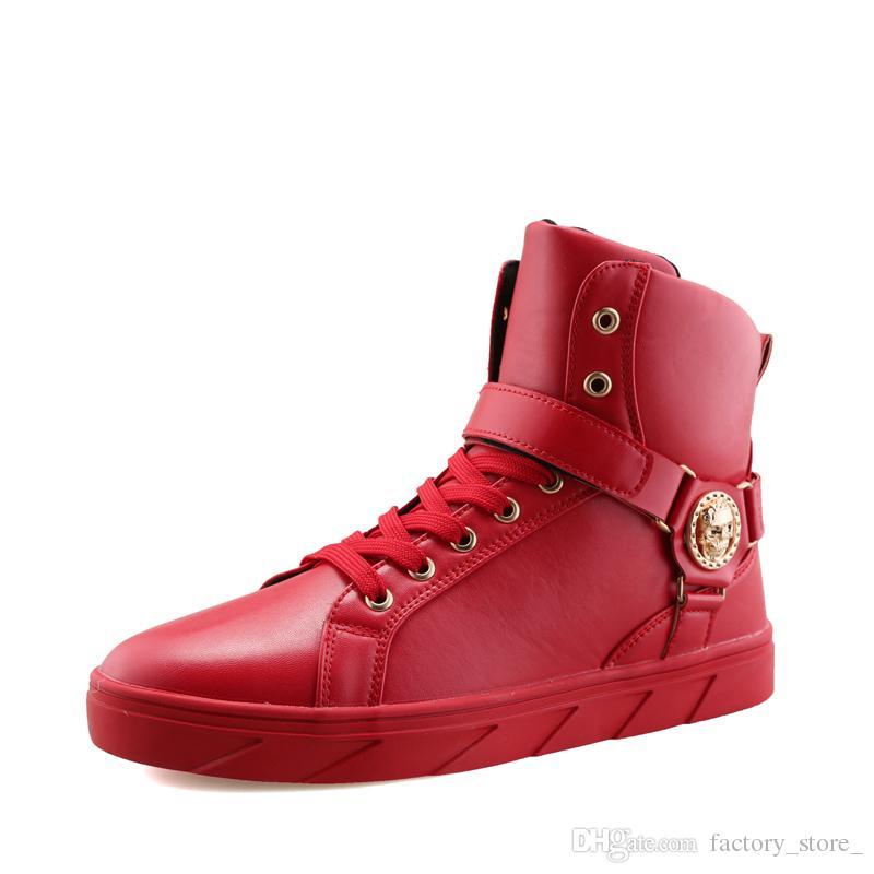 Compre Zapatos De Cuero De Calidad Superior Para Hombre Zapatos De Hip Hop  Zapatillas Altas Ocasionales Diseñador De Marca De Lujo Zapatos De Calavera  ... 5160d4a3425