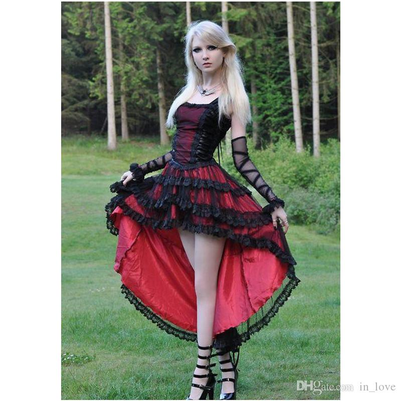 Gothic Prom Dresses Girls High Low Red and Black Lace Tulle Satin Straps Short Front Long Back Party Gowns Custom Size