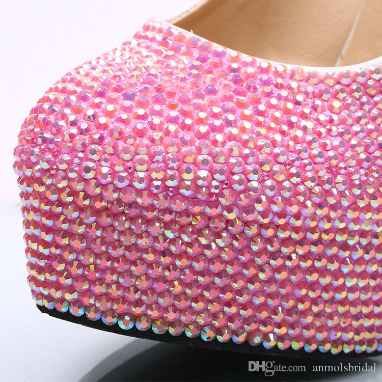 5 8 11 14CM Cinderella Shoes Pink Fully Beaded Bridal Bridesmaid Wedding Shoes Hand-made Prom Evening Party High Heels 115