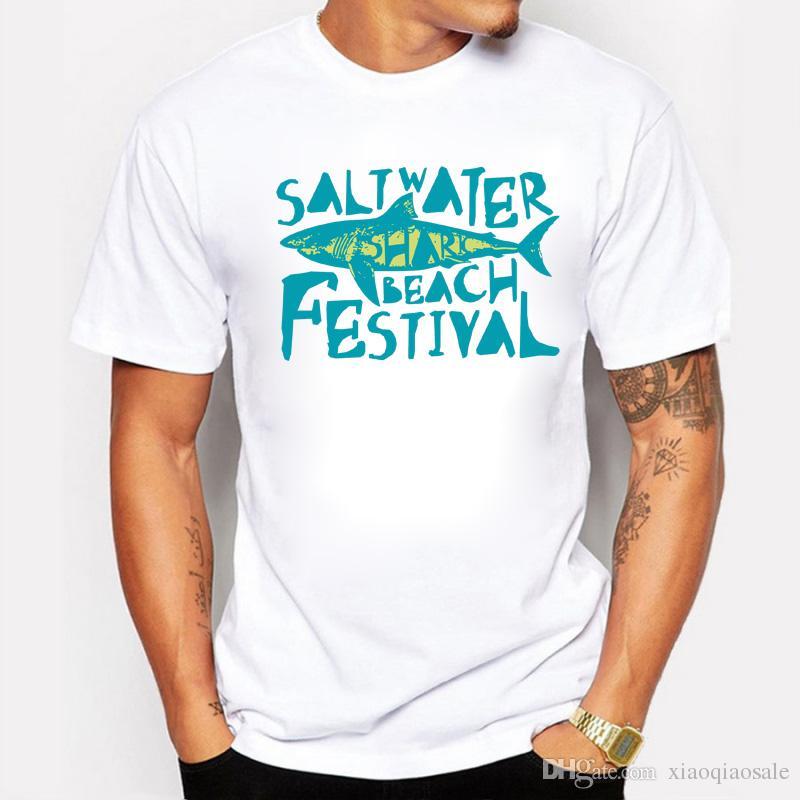 Più nuovo 2017 Fun Saltwater Beach Festival Shark stampato T Shirt Estate Mens / Boy Novità Cool manica corta Tee Tops