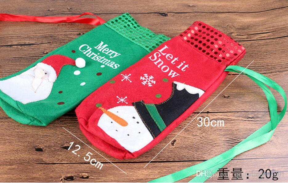 Christmas Wine Bottle Covers Red Wine Bags Decoration Santa Snowman Style With Red Pretty Tie With Retail Package Drop Shipping