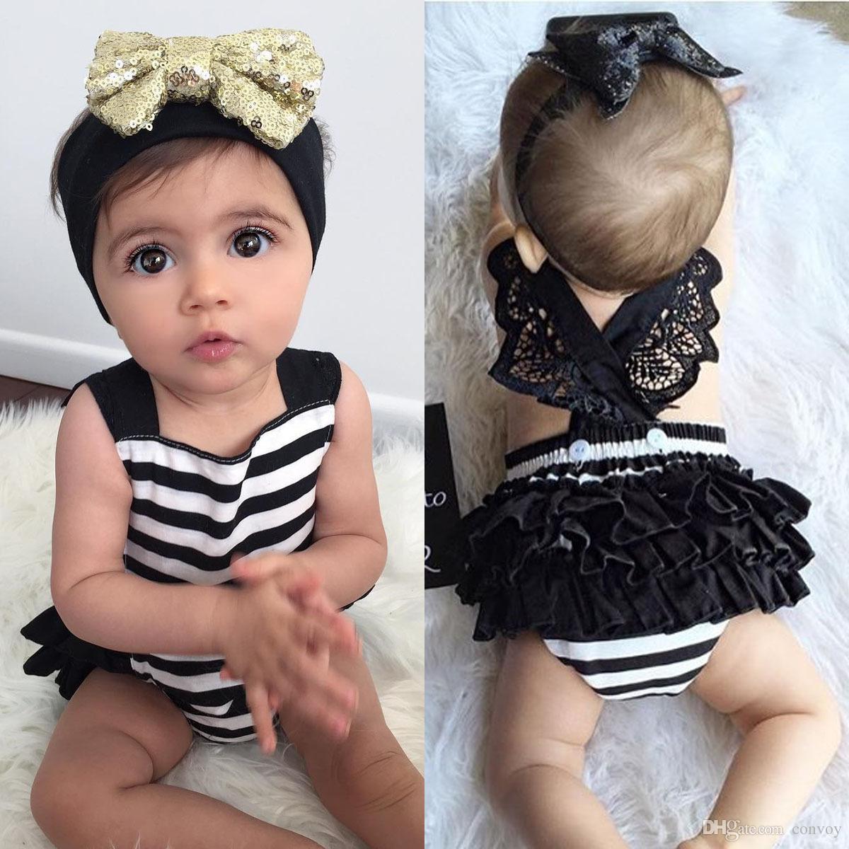 98323c1e286 2019 Baby Girl Pant Headband Stripe Lace Rompers With Tutu Skirt Sequin Bow  Headbands Set Kids Children Cross Backside Bodysuits KST04 From Convoy