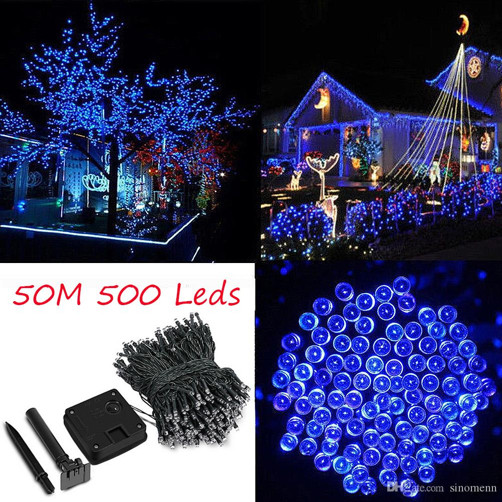 50m 500 led solar powered fairy strip light for xmas festival lights string rechargeable batteries for decorating garden copper string lights paper lantern