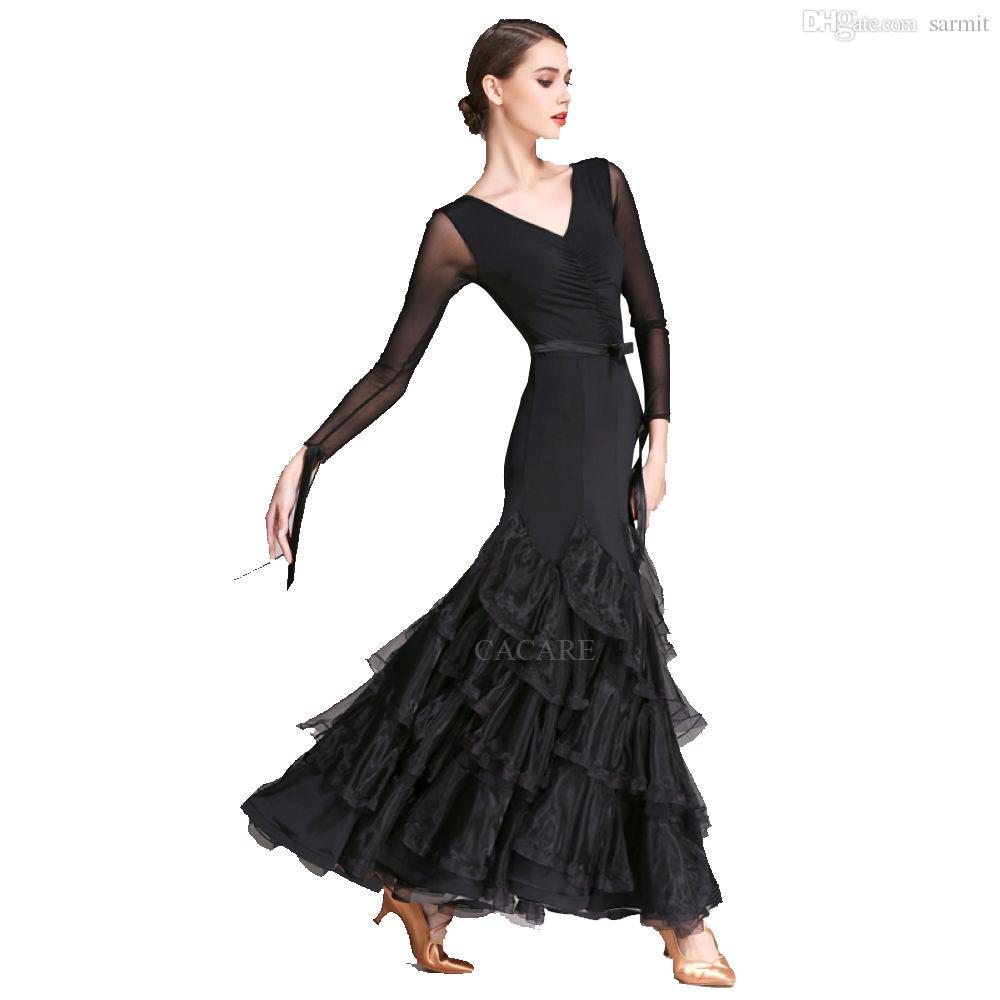 1543fa3b0c02a Acheter Robes De Danse De Salon Pour Femmes Valse Manches Longues Robes De  Femmes Pour La Danse De Salon Tango Valse Robes De Concours De Danse De  Salon ...