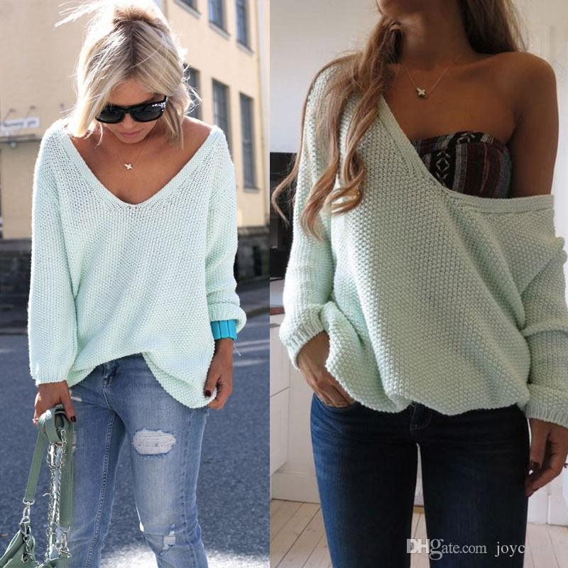 2018 Womens Ladies Off The Shoulder Chunky Knitted Oversized Baggy ...