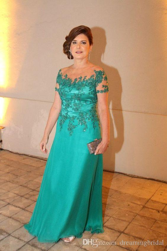 Green Mother Of The Bridal Dresses Long Applique Crystal Chiffon pants suit wedding Dresses Custom Made Plus Size
