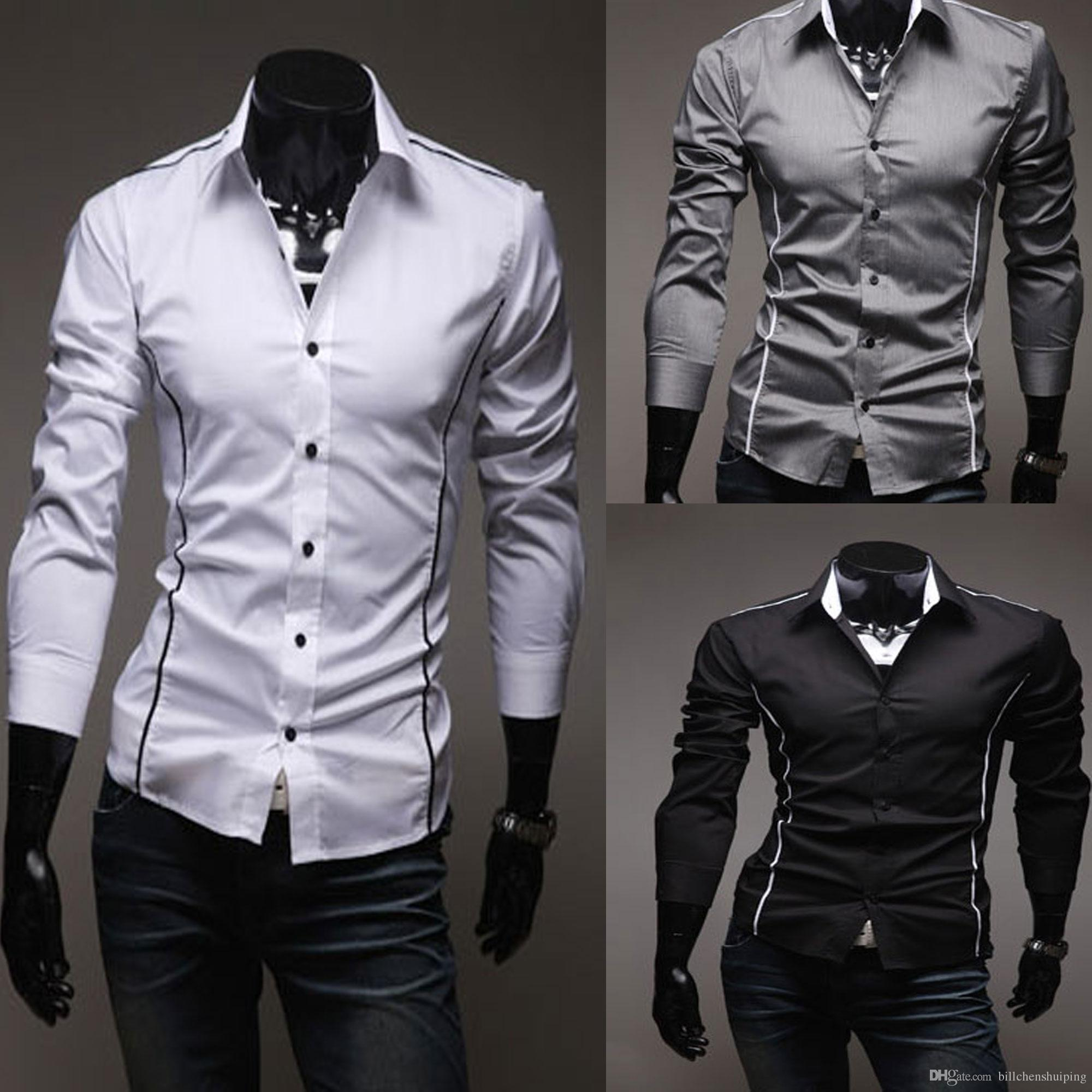 2018 New Fashion Men'S Stylish Casual Designer Dress Shirts Muscle ...