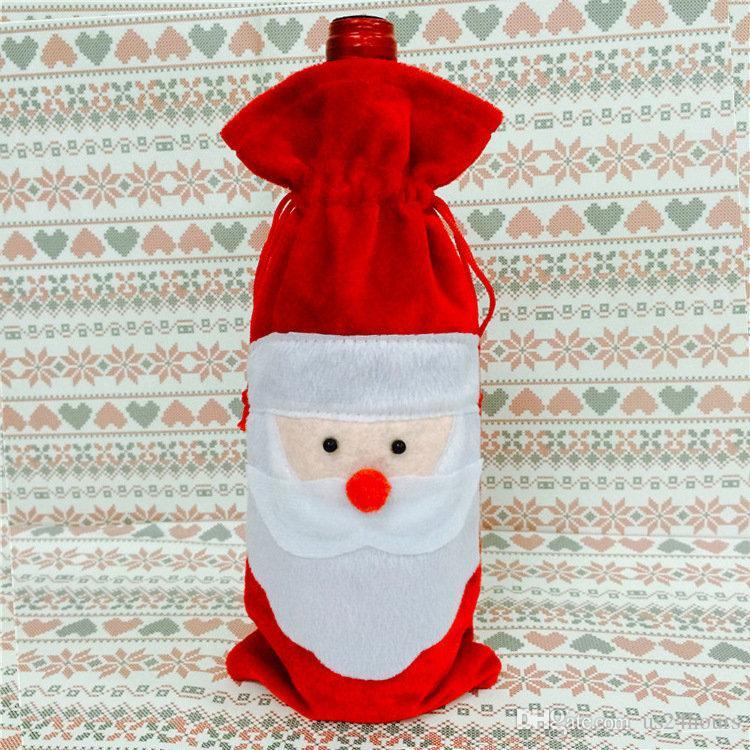 Preço de fábrica de Mesa de Jantar de Natal Decoratio Sacos de Tampa de Garrafa de Vinho Tinto Início Decorações Do Partido Do Papai Noel decoração de Natal fábrica