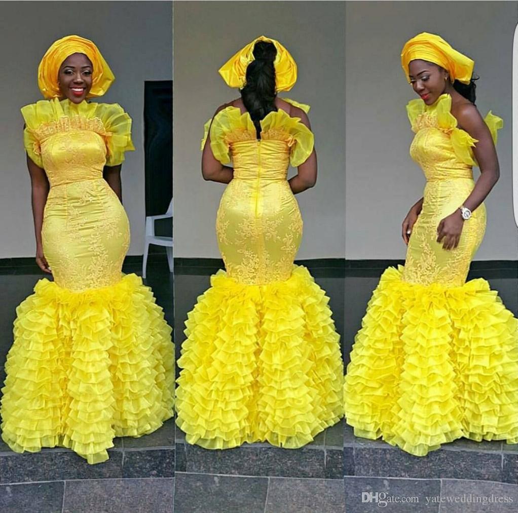 아소 에비 옐로우 이브닝 드레스 플러스 사이즈 머메이드 댄스 파티 드레스와 플라이 티드 커스텀 메이드 아플리케 특별 디자인 넥 라인 공식 파티 드레스
