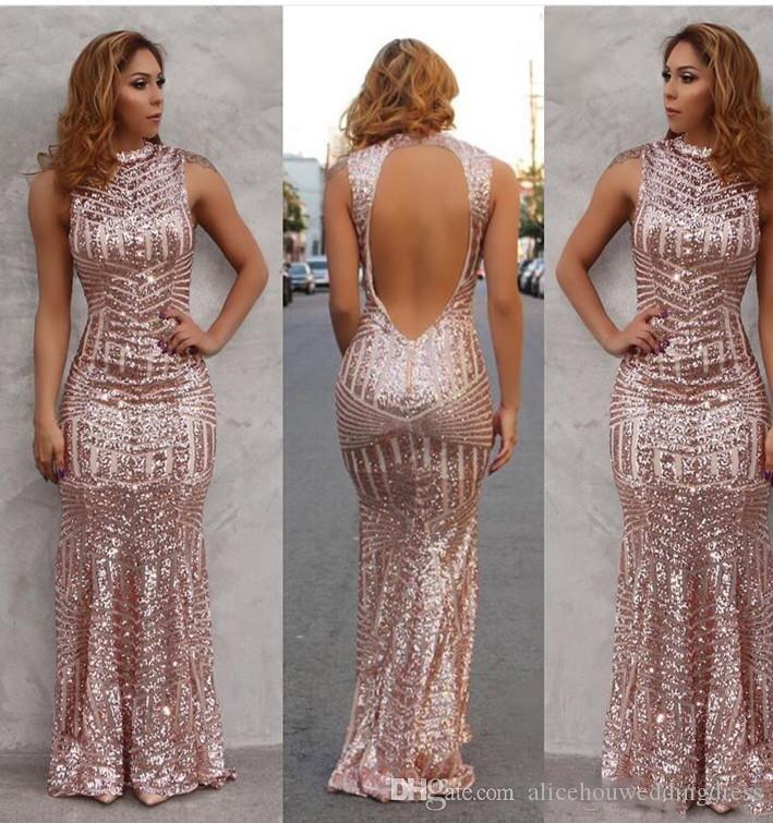 Sexy Sparkly Rose Gold Mermaid Prom Dresses Bling Bling Sequined