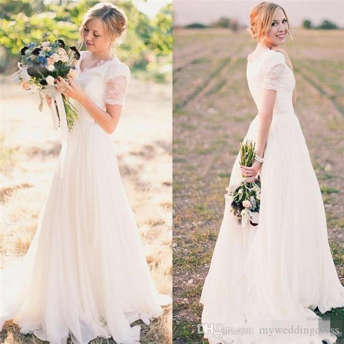 Discount beach summer sexy lace wedding dresses short sleeve 2017 discount beach summer sexy lace wedding dresses short sleeve 2017 plus size garden wedding dress lace bridal gowns a line v neck pleated cheap bridal junglespirit Images