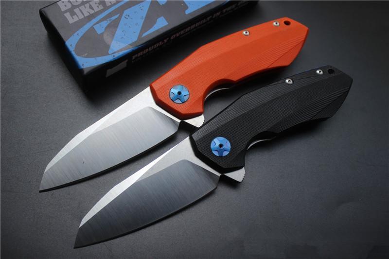 Ücretsiz nakliye, yüksek kaliteli ZT0456 katlama bıçak, bıçak: D2 Leke, Kolu: Siyah / OrangeG10, açık kamp avı el aletleri, toptan, hediyeler