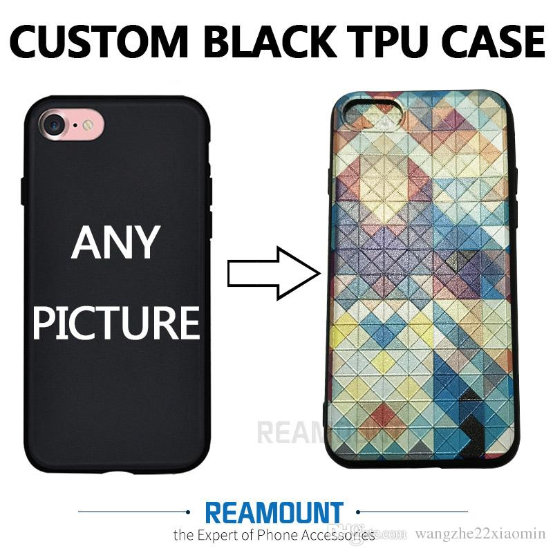 online store 5fafd f7cd0 3D Relif TPU Black DIY Customize Company Name Case Cover for iphone 6s 6s  plus for iphone 7 7plus Custom Your Own Picture Case