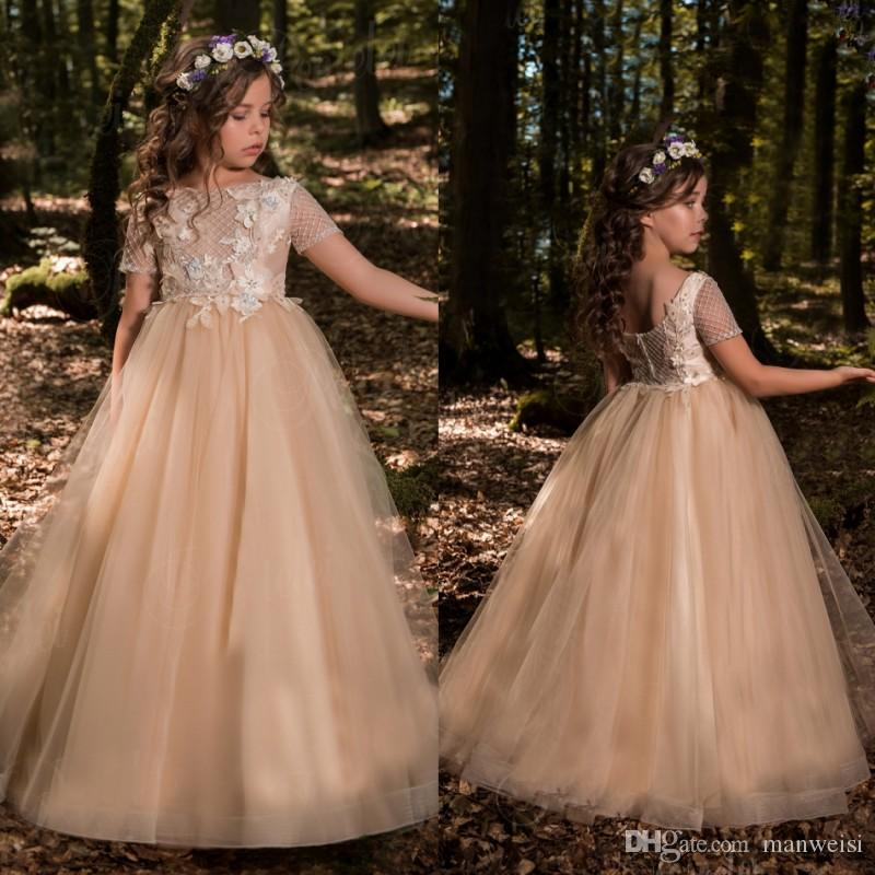 6833b264028 Champagne Ball Gown Flower Girls Dresses For Weddings Short Sleeve Applique  Little Kids First Communion Dress Puffy Skirts Pageant Gowns Flower Girl  Tulle ...