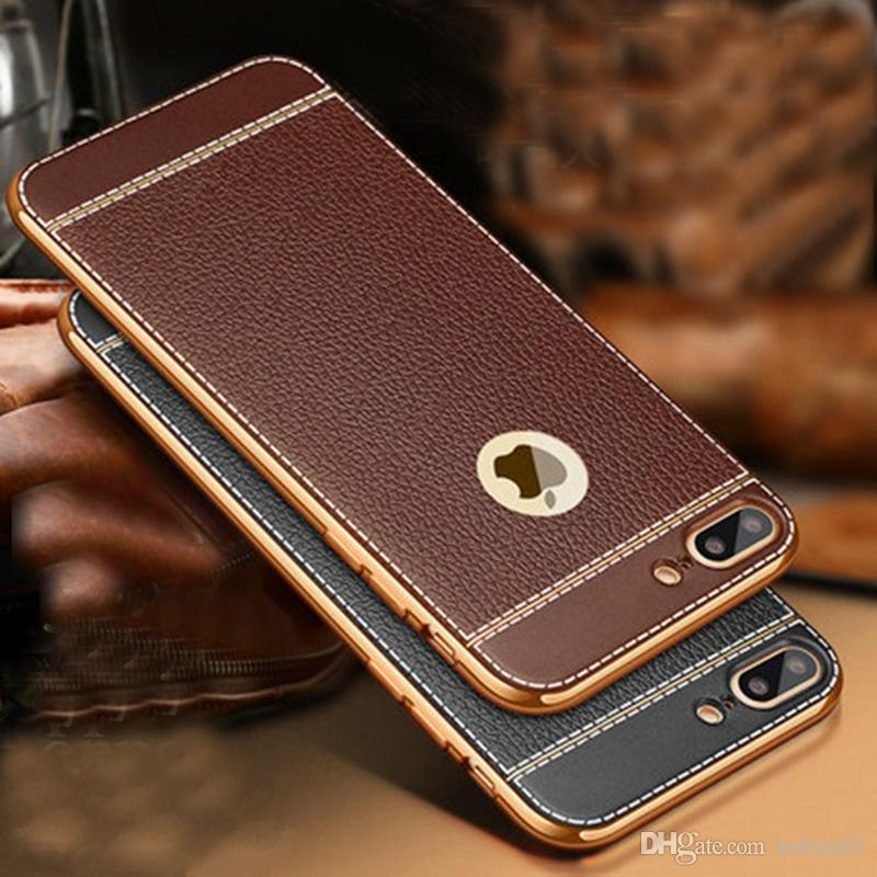 lowest price 29aad cb3ac Natural For iPhone X Luxury Litchi Grain Painting Soft TPU Back Cover Case  For iPhone X 8 8Plus 7 7Plus Phone Case