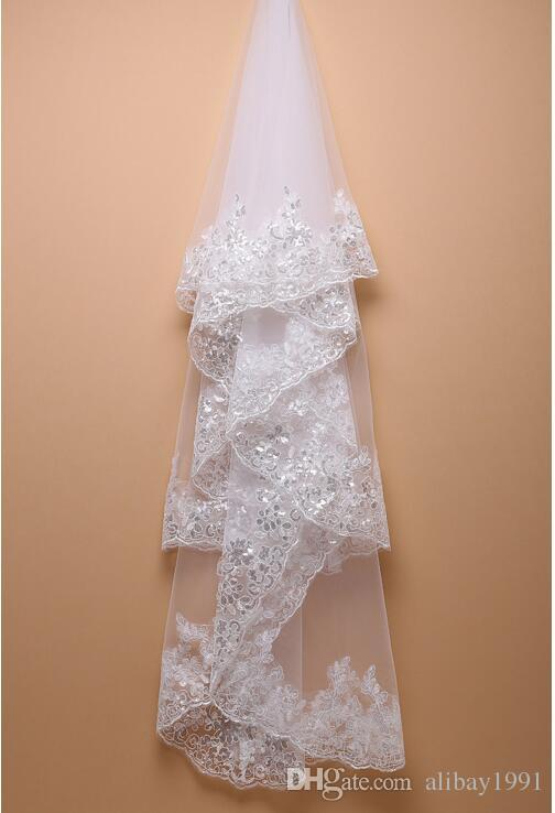 New Cheap Wedding Veil White or Ivory Lace Sequins with Comb One Layer Bridal Veil 100% Real Images