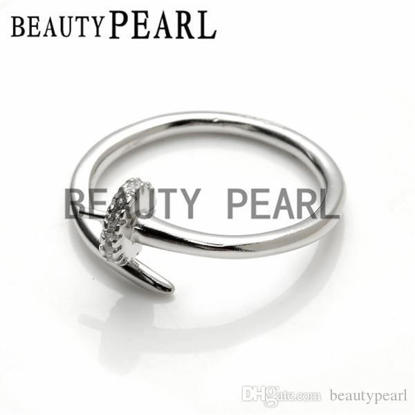 Pearl Mountings Open Ring Blank Findings Zircon 925 Sterling Silver for DIY Jewelry Making