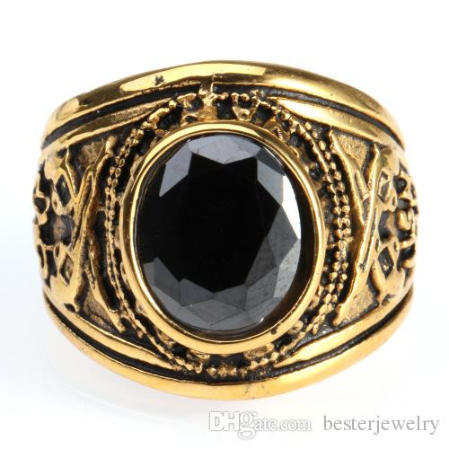 7-13 Gold Plated United States Army Ring With Precious Big Stones 316L Stainless Steel Mens Gun Rings