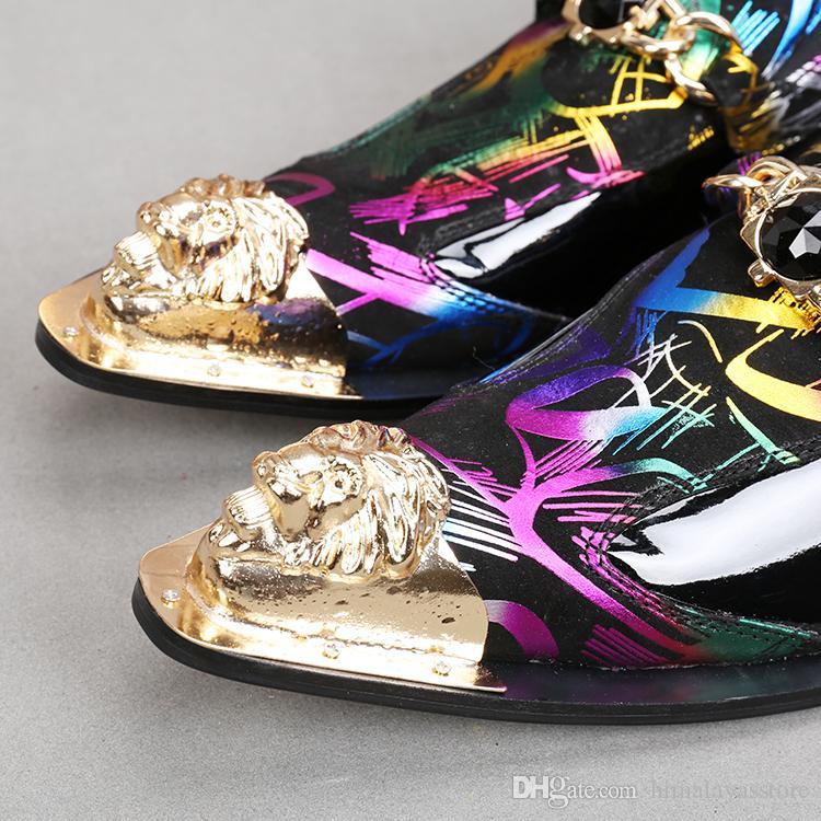 Or Tête de Fer mixtes Couleurs Chaussures Hommes Chaussures en cuir travail Mode Robe Chaussures Flats respirante