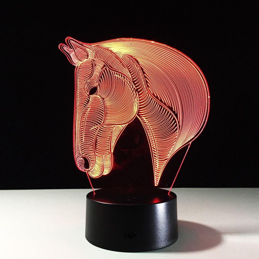 Horse Head 3D Optical Illusion Lamp Night Light DC 5V USB Charging 5th Battery Dropshipping
