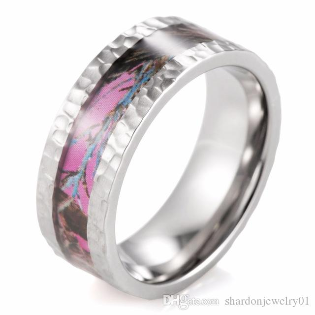 2018 shardon hammered titanium pink camo wedding ring outdoor wedding bands ring with hammered finish ring for men women from shardonjewelry01 - Pink Camo Wedding Rings