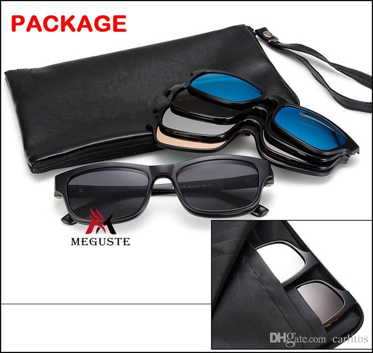 El más nuevo 2017 Fashion Magnet Sunglasses Clip Magnetic Mirrored Clip on Sunglasses Hombres Mujeres Polarized sunlgasses visión nocturna lente