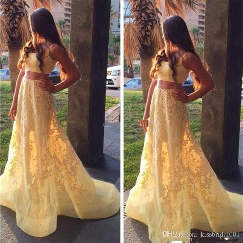 Две части желтые платья выпускного вечера кружева вечерние платья ремни вечернее платье для девочек театрализованное платье