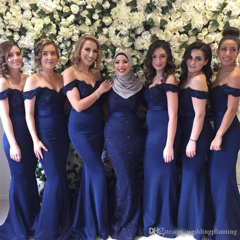 Navy Blue Vintage Mermaid Bridesmaid Dresses Off The Shoulder Formal Bridesmaids Dress Cheap Wedding Guest Party Gowns