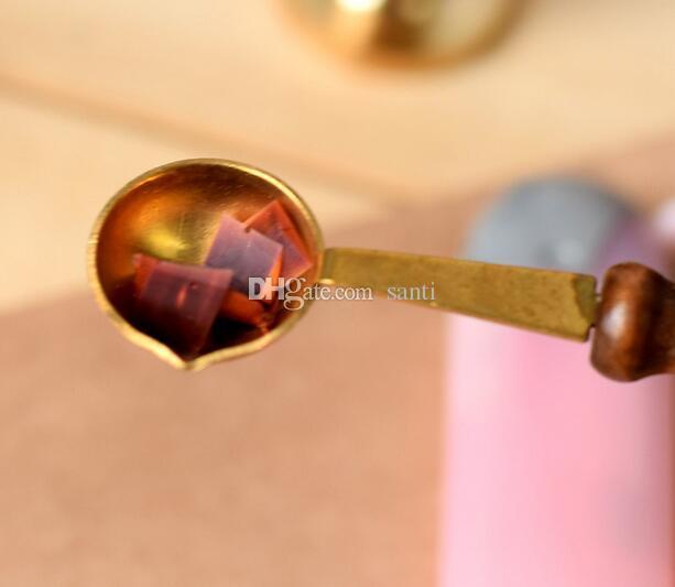 Qualidade cera de cera selo selando colher de cera vintage punho de madeira selagem colher anti hot cera colher