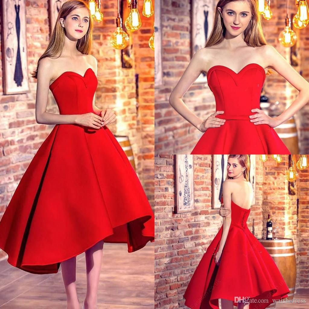 bd3944100 2018 Classic Princess Sweetheart Prom Dresses Red High Low Evening Dress  Simple Cheap A Line Short Homecoming Dress Prom Dresses Kids Prom Dresses  Shops ...