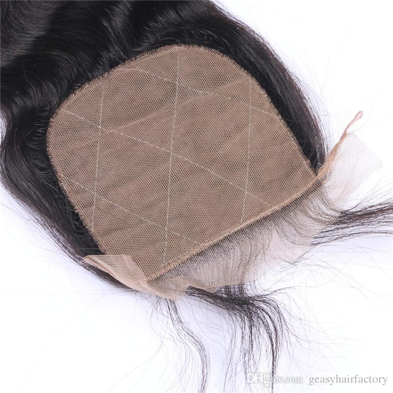 4X4 Silk Base Closure With Bundles Natural Black Indian Body Wave Human Hair Weaves With Closure LaurieJ Hair