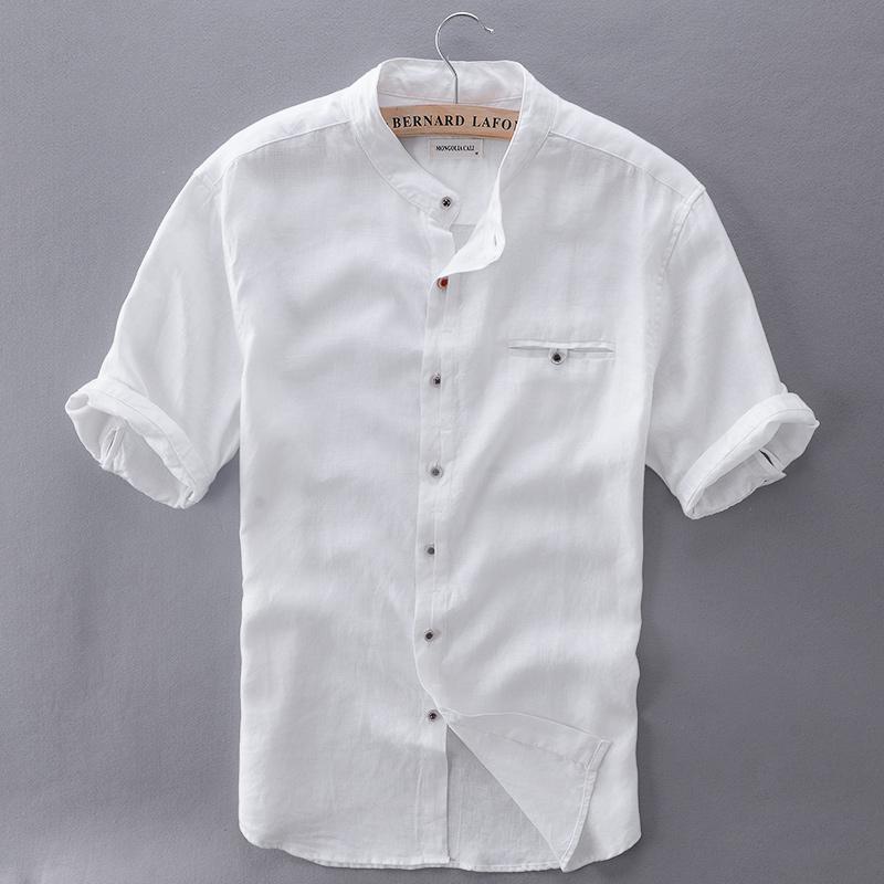 fffa0b14736 2019 Wholesale 2017 Pure Linen Shirts Men Short Sleeve Solid White Men  Shirt Brand Summer Flax Shirt Mens Slim Comfortable Shirts Mens Camisa From  ...