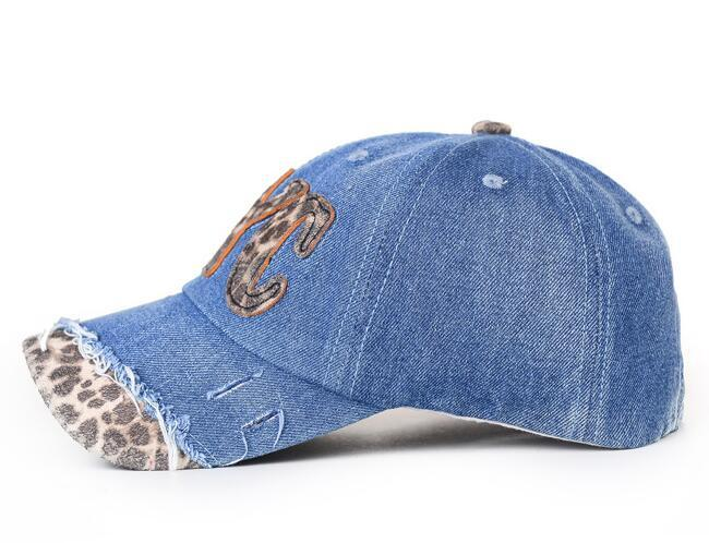 Hot Fashionable Unisex Jean Cloth Hats Sports Baseball Cap Leopard Print Letter Causal Outdoor Sports Hats Cap Baseball Cap