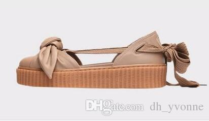 buy popular e329c 9bcb5 New Fenty By Rihanna Creepers Collection Bow Creeper Sandals Pink White  Brown Khaki Tint Women Shoes Ankle Wrap Lace-Up Leather Ballet Flats